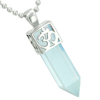 Ancient OM Amulet Magic Powers Crystal Point Lucky Charm Simulated Opalite Pendant 18 Inch Necklace