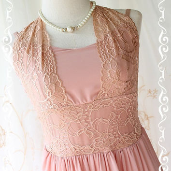About Love - Pink Nude Gorgeous Maxi Dress Lacy Halter Sweet Lady Vintage Inspired Dress