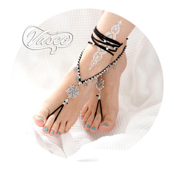 Black Barefoot Sandals, Crochet Hippie Shoes, Yoga, Bellydance, Gypsy Sandals