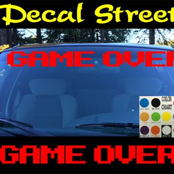Game Over Windshield Visor Die Cut Vinyl Decal Sticker
