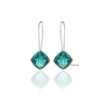 Teal Quartz Buff Top Cushion 10x10 mm Sterling Silver Earring, Designer Handmade Teal Quartz Earring