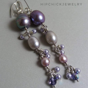 Long Pearl Earrings in Silver, Freshwater Pearls in lavender and gray, with balanced clusters of pearl & crystal