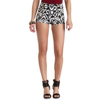ZIP-UP TRIBAL PRINT HIGH-WAISTED SHORTS