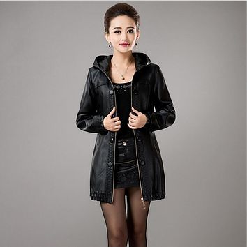 spring autumn women Casual leather coat Plus size L-5XL Women black Hooded long leather coats women motorcycle leather jackets
