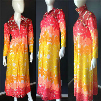 ViNtAgE 60s 70 Maxi Coverup Gypsy Duster Tunic Ombre Caftan Boho Hippie Semi Sheer Goddess