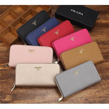 """Prada"" Women Purse Simple Fashion Multifunction Zip Long Section Wallet Handbag"