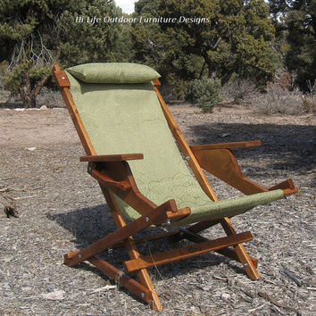 "Alder Wood Sling Chair with Arm Rests, Head Rest, & Handle in Green Outdoor Fabric ""Carrara Prospector"" for Patio Deck Camping Pool"