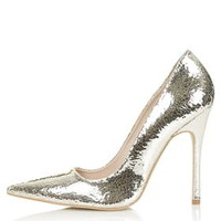 GALLOP Crackle Court Shoes - Gold