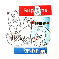 6pcs/lot supreme Ripndip White cat Erect middle finger skateboard decal Notebook trolley case backpack Table PVC car sticker