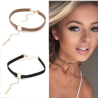 90'S Punk New Fashion 4 Colors Leather Choker Necklace Gold Plated Geometry With Round Pendant Collar Necklace For Women Girls -03324