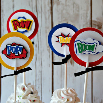 Superhero Party Theme Cupcake Toppers (set of 12)