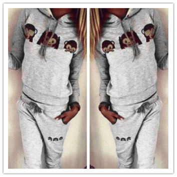 Grey Printed Hooded Sweatshirt and Pants