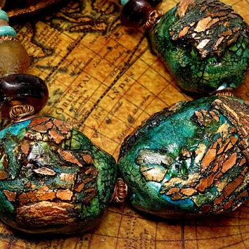 Green and Copper Polymer Clay Statement Necklace