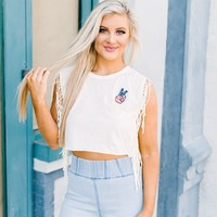 Fringed Peace Top - These Three Boutique