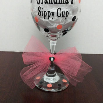 Grandma's Sippy Cup Wine Glass with Vinyl, Coral and Black Polka Dot