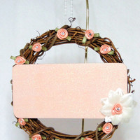 """Clear Chalkboard Sign Wreath - 6"""" Round Grapevine Hanging Wreath With Ivory and Coral Flowers Crystal Rhinestones Girl's Room"""