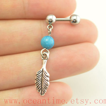 Turquoise bead Tragus Earring Jewelry,leaf barbell piercing jewelry, dangle leaf ear Helix Cartilage jewelry