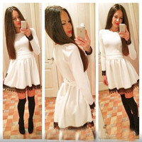 Long Sleeve Lace Accent A-Line Mini Skater Dress