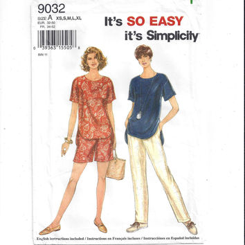 Simplicity 9032 Pattern for Misses' Pants, Shorts, Top, Sm to X-Large, UNCUT, FACTORY FOLDED, From 1996, Easy Sew, Vintage Pattern, Home Sew