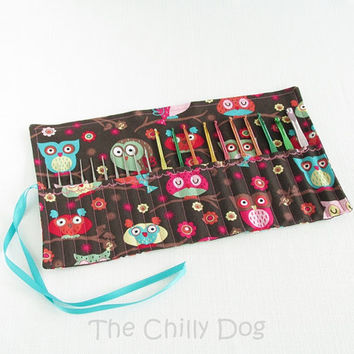 Roll-Up Crochet Hook Case - Pink, Brown and Blue Owls