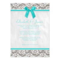 Teal Country Lace Wedding Invitations