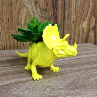 Up-cycled Yellow Triceratops Planter