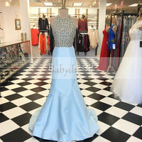 Unique Long Halter Beading Light Blue Prom Dress Sleeveless Stretch Satin Floor Length Real Picture African Mermaid Prom Dresses