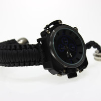 Functional Watch with Secret stash metal hand pipe black and blue