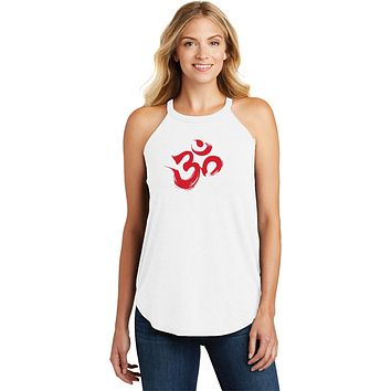Red Brushstroke AUM Triblend Yoga Rocker Tank Top