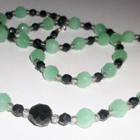 Vintage Czeck Faceted Glass Bead Necklace, Jadeite Green and Black