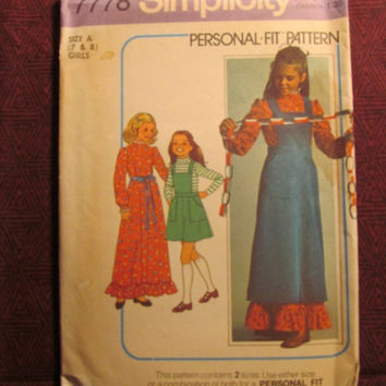 Sale Uncut 1970's Simplicity Sewing Pattern, 7778! Size 7 & 8 Girls/Kids/Child/Pinafore/Jumper Dress/Ruffled Dress/Prairie Western Style