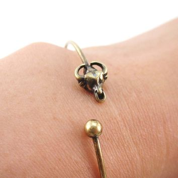 Minimal Taurus Bull Charm Bangle Bracelet Cuff in Brass | Animal Jewelry