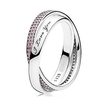 Authentic 925 Sterling Silver Ring for Women Sweet Promise Ring Pink CZ I Love You Gift fit Lady Jewelry