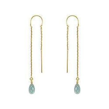 Blue Topaz Thread Earrings : 14K Yellow Gold - 2.00 CT TGW