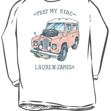 Lauren James Prep My Ride Long Sleeve Tee in White