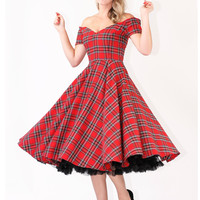 Dee Dee Royal Stewart Tartan Vintage 50s Full Circle Dress - British Retro