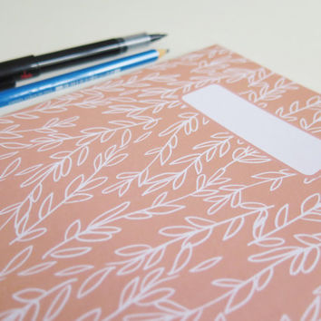 Patterned A5 Notebooks, Plain Paper, Coral Sprigs, Floral Pattern, Line Drawing, Sketchbook, Ideas Book, Back to School, Stocking Filler