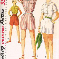 1950s High Waisted Shorts Sewing Pattern, Simplicity 4681, Uncut Factory Folded