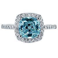 2.01 carats Blue cushion halo center diamond anniversary ring solid gold 14K