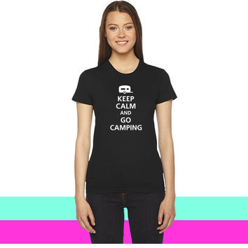 keep calm and go camping women T-shirt