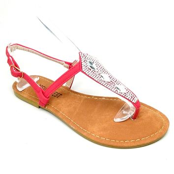 Women's Red Sandal with Rhinestones