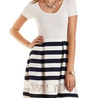 White Combo Lace Cut-Out Striped Skater Dress by Charlotte Russe