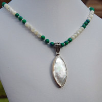 Mother of Pearl, Azurite Malachite & Sterling Silver Pendant Necklace - Free Gift Wrap