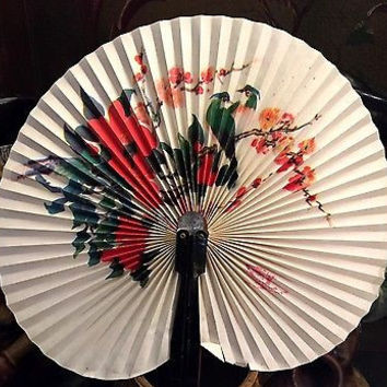 c1950 Hand Painted People's Republic of China,2 Birds in Red Peonies Hand Fan