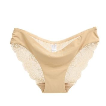 Women lace Panties Seamless Cotton Panty Hollow briefs Underwear Beige/L