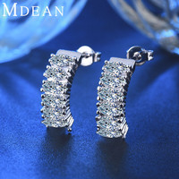 MDEAN White Gold Plated Earrings for women CZ diamond jewlery AAA Zircon Wedding brincos Engagement boucle d'oreille MSE034