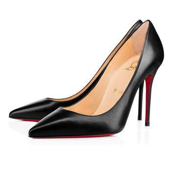 Best Online Sale Christian Louboutin Cl Decollete 554 Black Leather 100mm Stiletto Hee