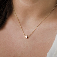 Tiny Star Necklace, Tiny Gold Necklace, Delicate Everyday Necklace
