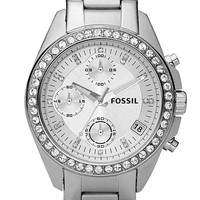Women's Fossil Crystal Topring Watch - Silver