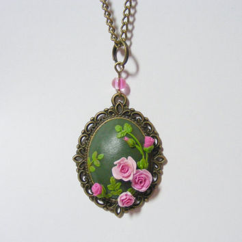 Pink Roses and Buds Pendant - Handmade Jewelry, Polymer Clay Applique, Flower Pendant Necklace